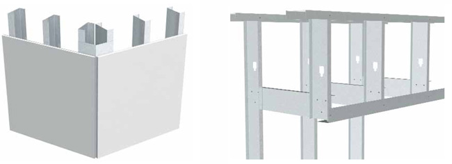 utility angles used to connect reinforce or secure metal stud framing in various drywall applications - Metal Wall Framing