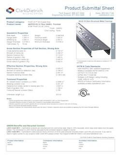 Product Data Submittal Sheets Clarkdietrich Building